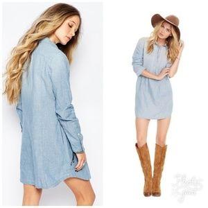 Denim & Supply Pintuck Chambray Shirt Dress L